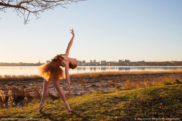 Kaitlyn Hayes—pictured against Portland's Back Cove, with the East End at left—is a graduate of SUNY Purchase College with a BFA in Dance and has trained with Boston Ballet and North Carolina School of the Arts. This is Kaitlyn's first season with Portland Ballet. She has been seen in PBC's Jack the Ripper as a Victim, as the Victorian Doll in The Victorian Nutcracker, and most recently as a part of the Trio in Boy Meets Girl. See her perform again on March 29th in PBC's Bolero to Bayadere.