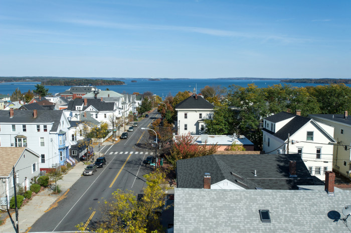 Panoramic view looking northeast towards Freeport, Harpswell and beyond.