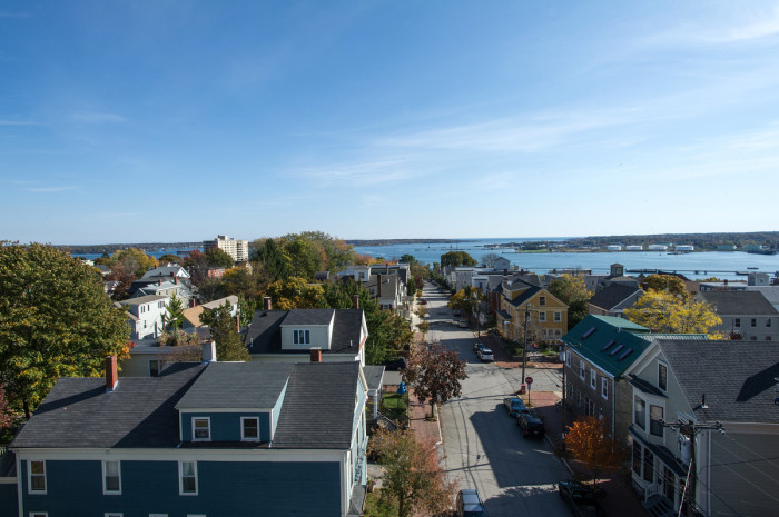 Southeast along St. Lawrence Street toward Cape Elizabeth and the Calendar Islands within Casco Bay.