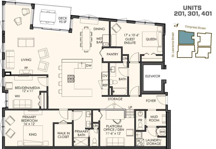 3 bedrooms plus a den 2 1/2 bathrooms 2,200 sq. ft. plus a spacious deck The 01 residences start at $900.