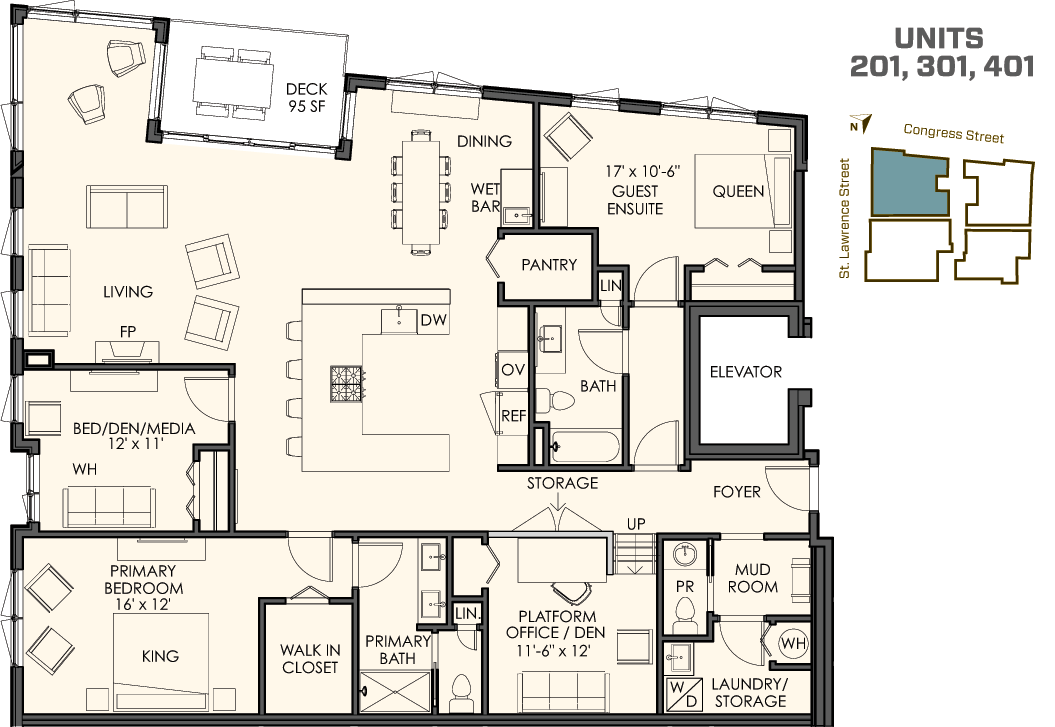 Four different floor plans for Building floor plans