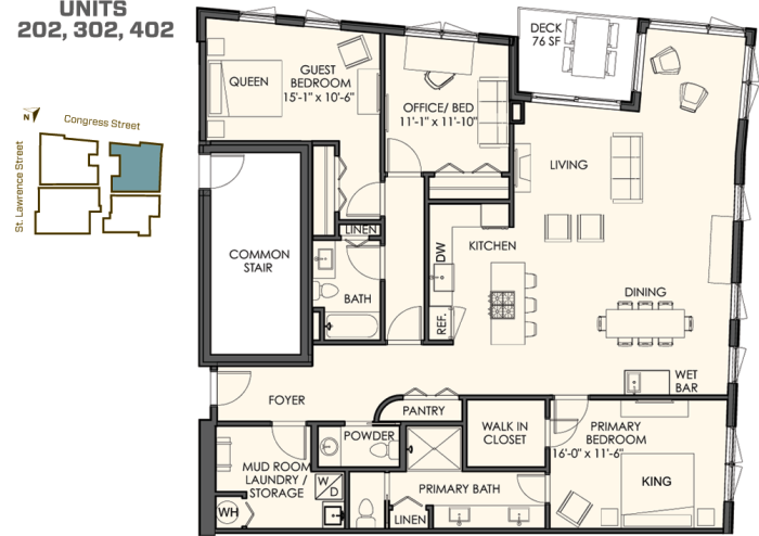 3 bedrooms (also serve as a den, office or media room) 2 1/2 bathrooms 1,900 sq. ft. plus a spacious deck The 02 residences start at $750.