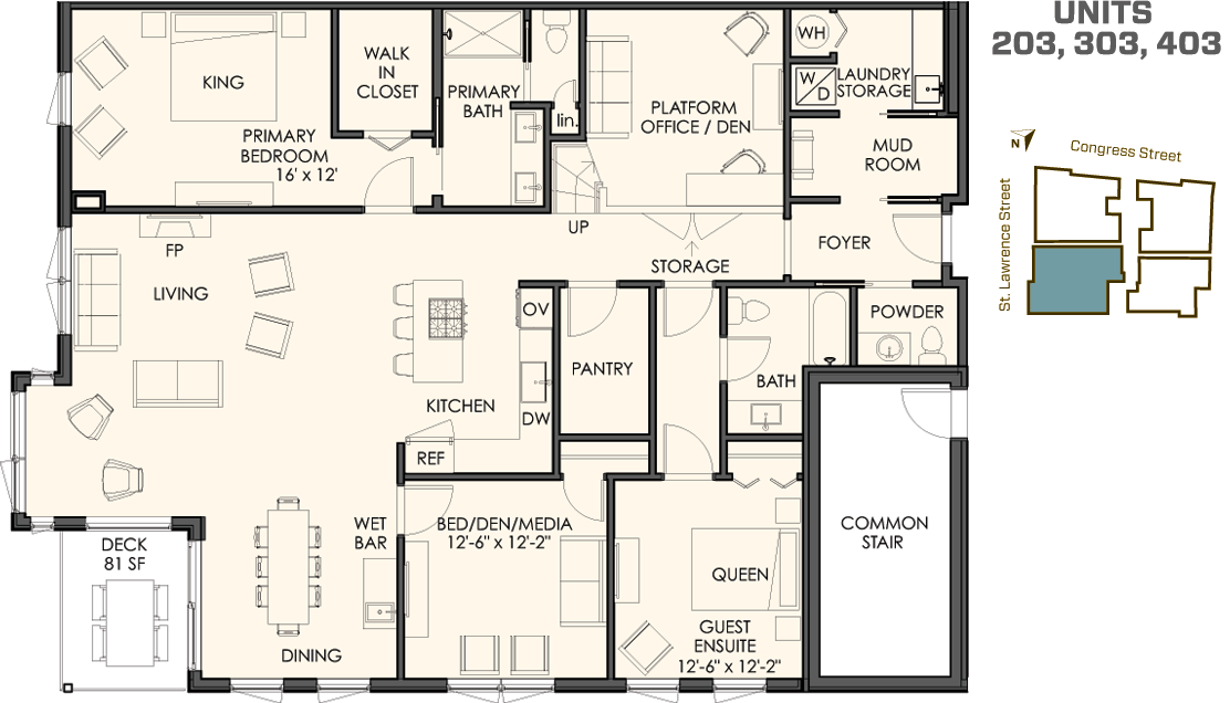 The 03 Floor Plan. 3 Bedrooms Plus A Den 2 1/2 Bathrooms 2,050 Sq. Ft. Plus