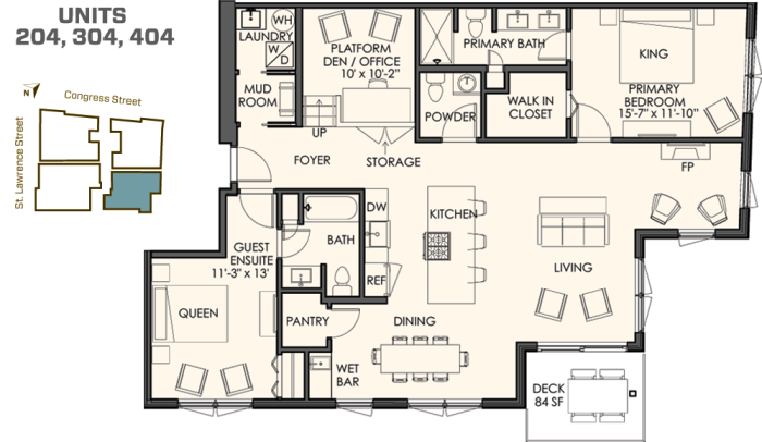 2 bedrooms plus a den. 2 1/2 bathrooms. 1,550 sq. ft. plus  a spacious deck. The 04 residences start at $725.