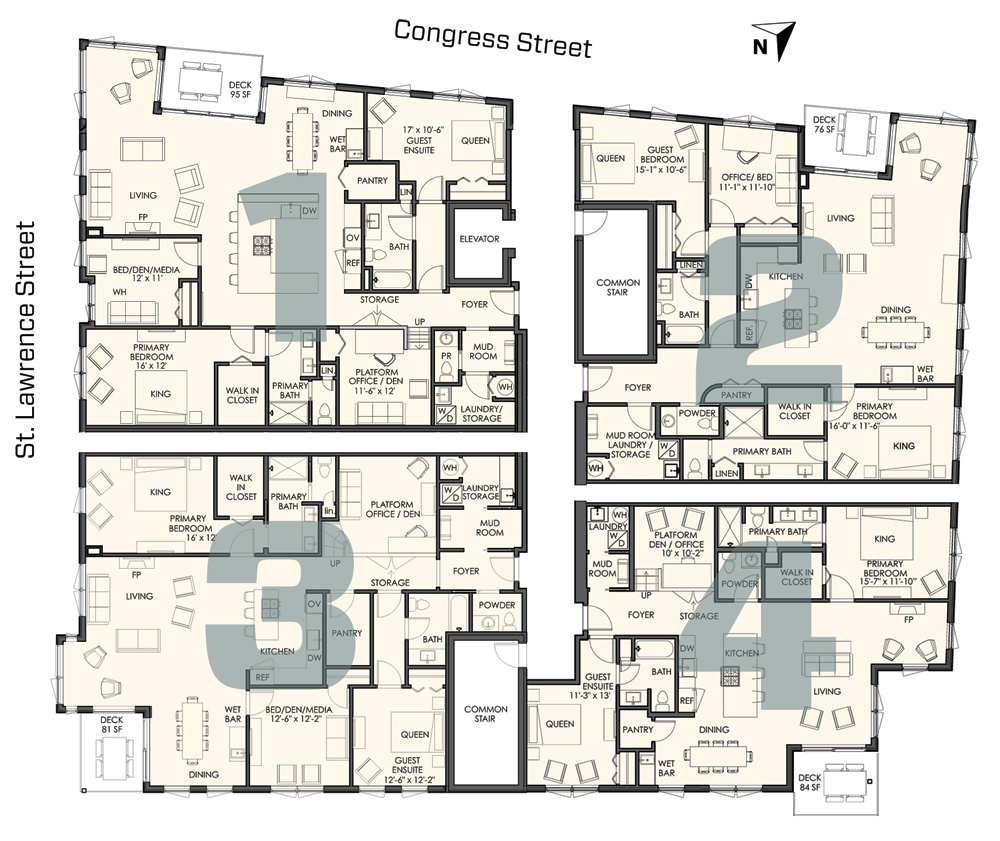 four different floor plans
