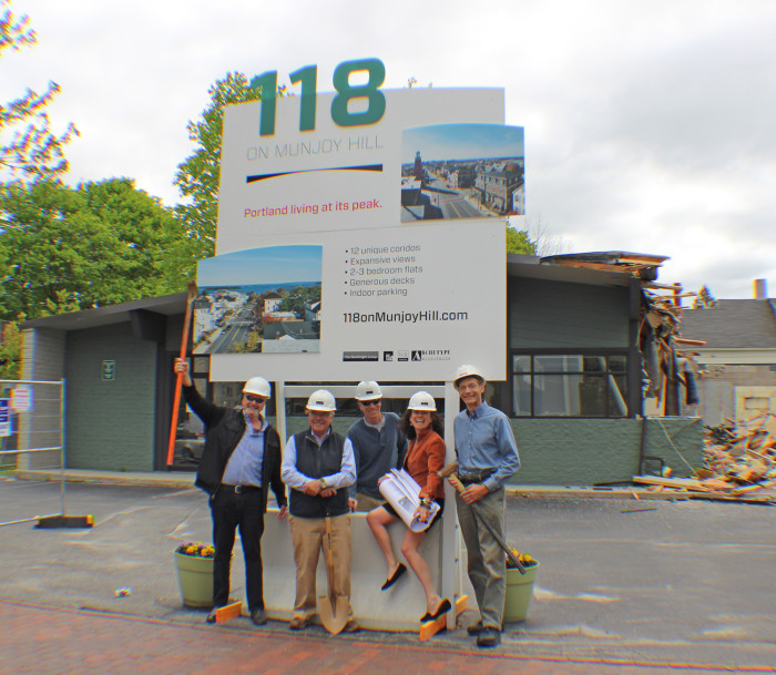The development team: (from l to r) David Lloyd, Archetype Architects; Ed Theriault, TLA; Chip Newell and Susan Morris, NewHeight Group; John Ryan, Wright-Ryan Construction.