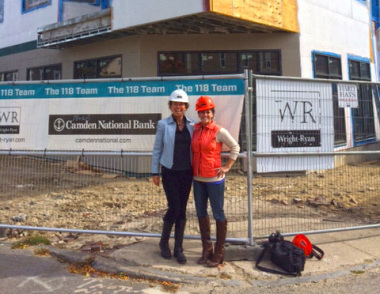 Erin Plummer of Hancock Lumber (right) joins Susan Morris (co-developer) for a hardhat tour of 118