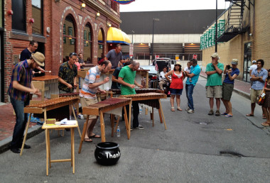 The Maine Marimba Ensemble performs during a First Friday Artwalk.