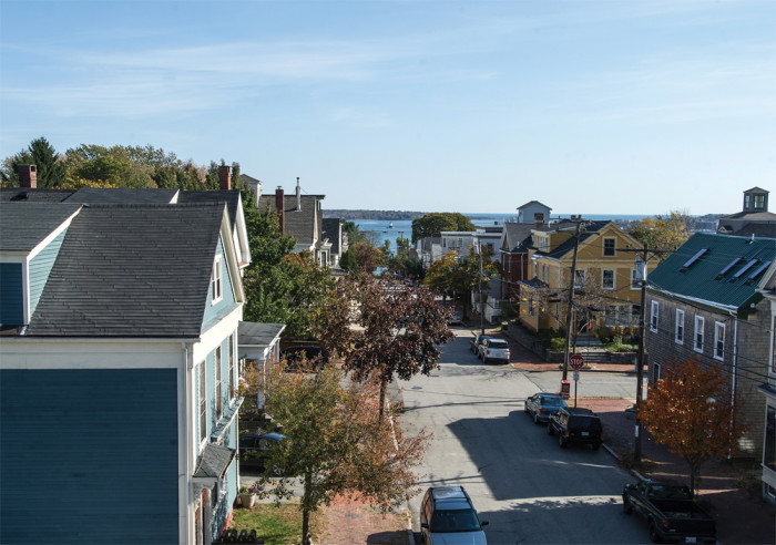 Southeast along St. Lawrence Street toward the Fore River.